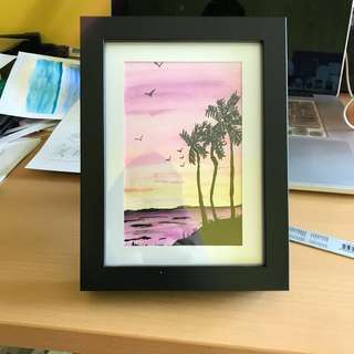 Pastel Sunset with Frame