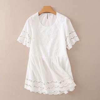 Beach summer eyelet lace white dress