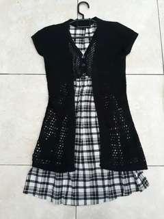 Preloved dress&cardigan rajut hitam free ong
