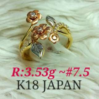 ( size: 7.5 ) 18K JAPAN GOLD RING '''''...