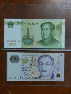 000128 Sg $2 China 1 Yuan 2 pieces set