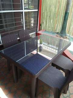 Rattan plastic table and chairs