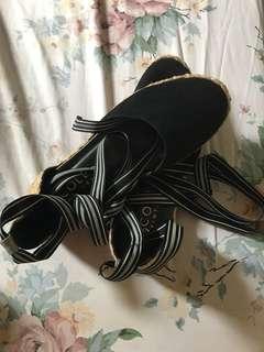 Cole Vintage Espadrille Wrap Around Shoes (black)