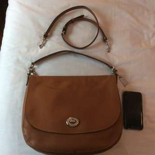 LIKE New Coach Turnlock Pebbled Leather Hobo Crossbody SADDLE