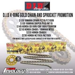 PROMO PROMO!!! Motorcycle Chain + Sprocket Promo