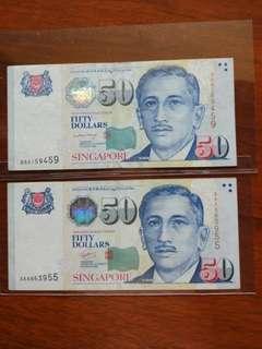 Sg $50 2AA 3AA LHL GCT