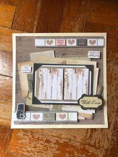 Couple vintage paper craft photoframe
