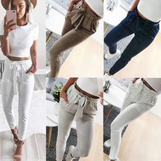 * PRE-ORDER ONLY * Women Fashion Casual Long Pants Slim Fit Low Waist Bow Pants Long Trousers