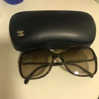 Chanel sun glasses with leather frame
