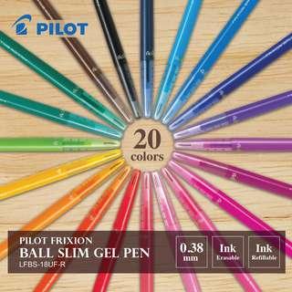 Pilot FriXion Ball Slim Erasable Gel Pen -0.38 mm (20 colors available) LIST 4/4