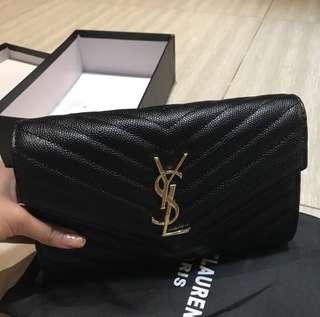 ysl black caviar clutch bag