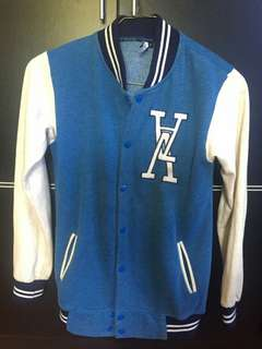 Varsity/ Jacket baseball biru putih