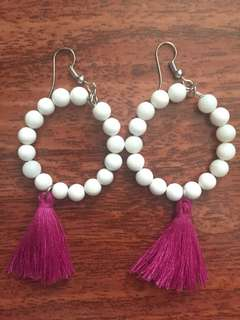 Shell stone beads and Loop earrings