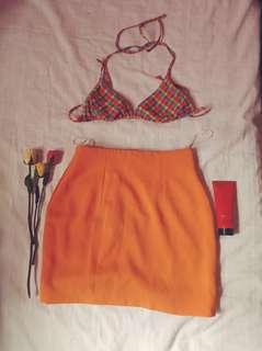 Swimsuit bra plus pencil cut skirt