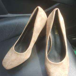 brown nude block heels new size 39
