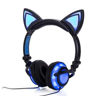 Cat Ear & Muffs 2 LED Lights Glowing Headphone Over-ear, Rechargeable