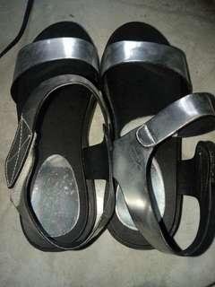 Silver black Sandals