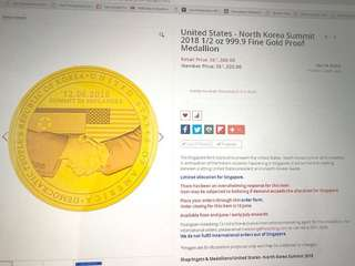 US- North Korea at Singapore Summit on 12-06-2018. 1/2 oz 999.9 Fine Gold Proof Medallion