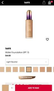 BNIB tarte rainforest of the sea water foundation