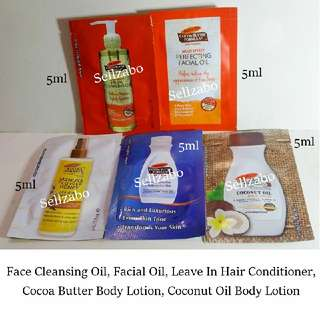 Body & Face Skincare Samples : Palmers : Palmer's : Satchets : Packets : Trial : Size : Travel : Skin : Care : Facial : Cocoa Butter : Clean : Cleanser : Cleansing : Coconut Oil : Hair : Leave In Conditioner : Moisturiser : Moisturizer : Sellzabo