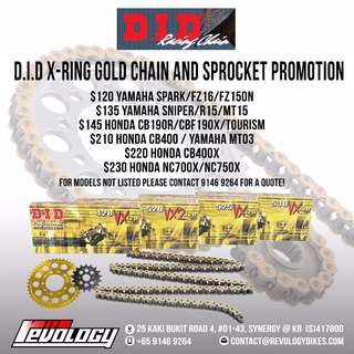 PROMO PROMO!!! Motorcycle Chain + Sprocket Promo