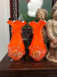 Vintage pair orange glass flower vase