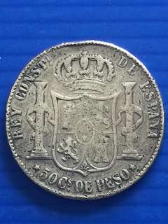 Spain 50Peso 1885, Silver Coin , Refilled
