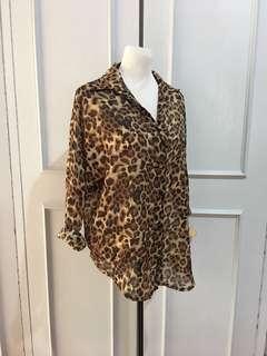 Polo Top Leopard Print Freesize