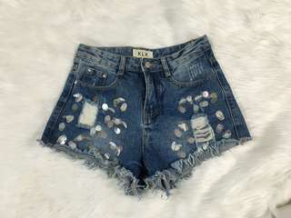 Denim Shorts with sequined details