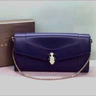 Bvlgari 蛇頭手袋銀包 Calf Leather Size: 19 x 10 x 3 Short chain 長約34.5cm Real and New
