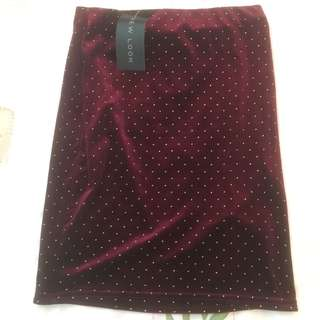 BNWT new look maroon studded mini skirt authentic