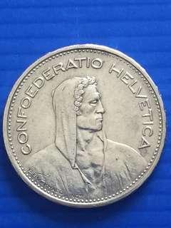 Switzerland 5FR 1932B , Silver Coin