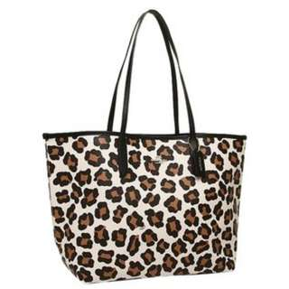 Coach Bag F35874 City Tote in Ocelot Print Coated Canvas Chalk Multi