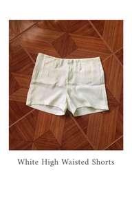 White High-Waisted Shorts