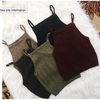 * PRE-ORDER ONLY * Women Sexy Sleeveless Knit Crop Tops