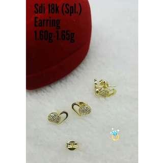 18K SPL SAUDI GOLD STUD EARRINGS '....