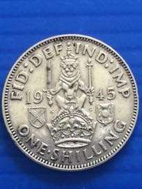 Uk One Shilling 1945, Silver Coin