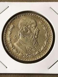 1962 Mexico 1 Piso Coin
