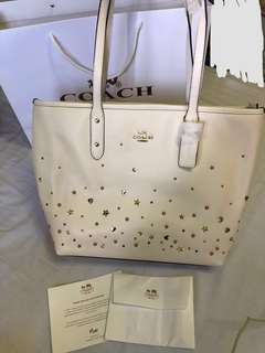 Readystock✨Coach Stardust City Zip Tote - cream white