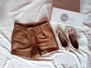 H&M high-waist shorts & Solemate Flats