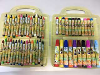 Crayon + Pastel+ Marker pens set/ 蠟筆+粉彩+馬克筆套裝