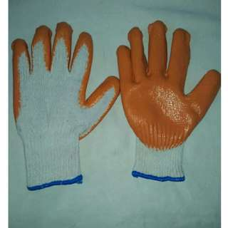 Cotton Knitted Gloves (with rubber orange palm)