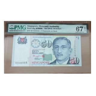 Singapore Portrait $50 Super solid 4 with special prefix and 2stars 4EV 444444