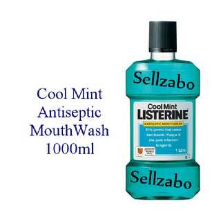 Cool Mint Teeth Listerine Antiseptic Healthy Tooth Mouth Wash Mouthwash Rinse Listerin Oral Hygienie Gum Infections Stains Plaque 1000ml Blue Sellzabo