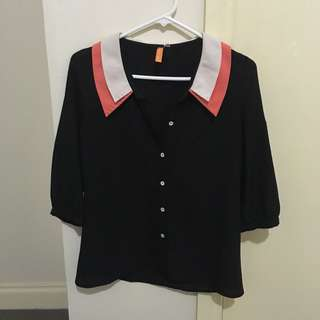 Pink/white collared black blouse
