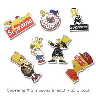 Supreme X Simpson's waterproof diecut stickers for motorcycles