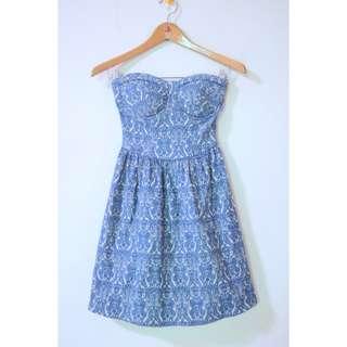 Blue patterned tube dress