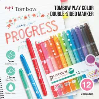 Tombow Play Color Dot Double-Sided Marker - 0.3 mm / 5 mm - 12 Color Set