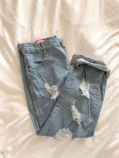 Denim blue ripped boyfriend jeans