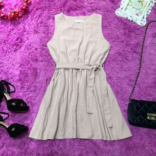 Nude Pink Casual Dress with Waist Tie